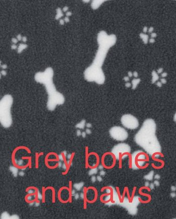 Fleece Grey with ivory bones and paw prints